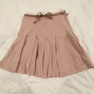Gap pale pink denim pleated skirt tan tie size 4